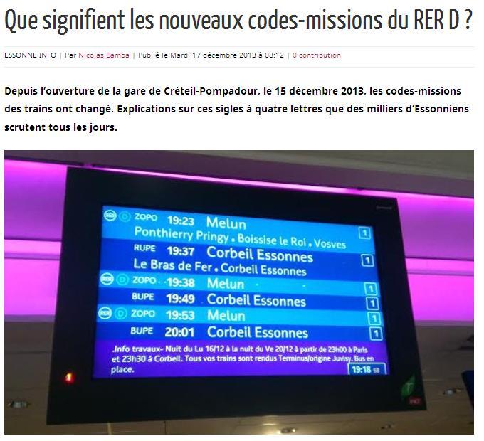 RER D Codes