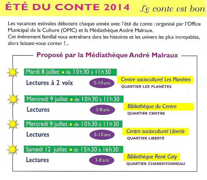 Eté du conte 2014 Programme