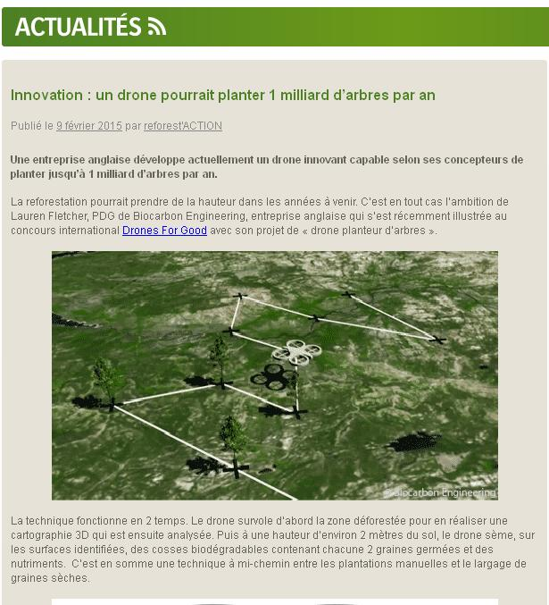 Innovation Drone plantage d'arbres