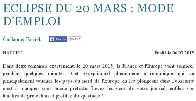 ECLIPSE du 20 Mars
