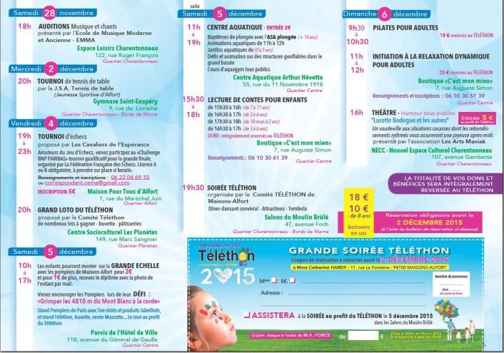 Téléthon 28 nov au 6 déc 2015 Programme
