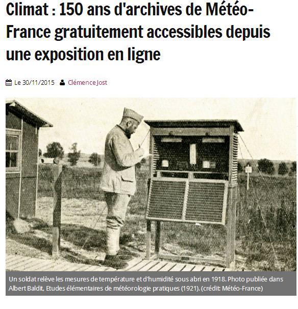 150 ans d'Archives de Météo France