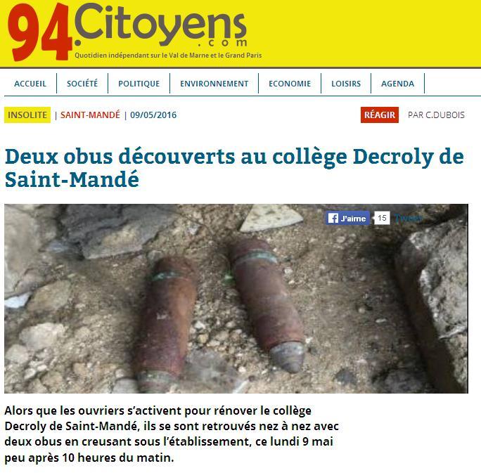 Deux obus à Saint-Mandé