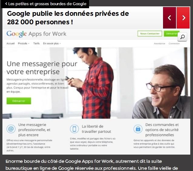 Petites et grosses bourdes de Google